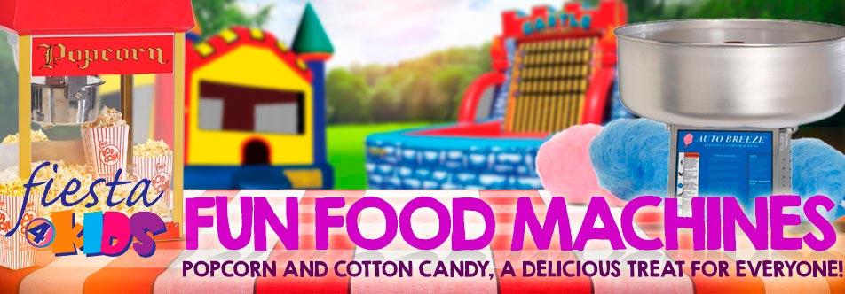 fun food machines, confection rentals, party food rentals, popcorn rentals, cotton candy rental, cotton candy machine, popcorn maker, popcorn machine, confections